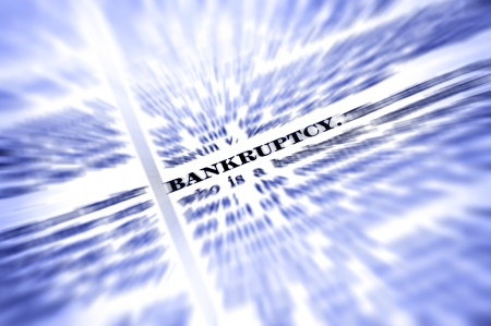 Zooming closeup of definition of the word bankruptcy