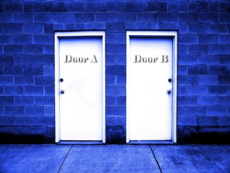 View of two doors representing choices we make in life      photo