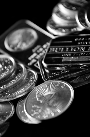 Pure silver coins and bars bullion photo