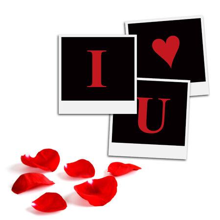 rectángulo: Varios fotogramas de película instantánea en un fondo blanco aislado diciendo Te amo con pétalos de rosa en la parte inferior