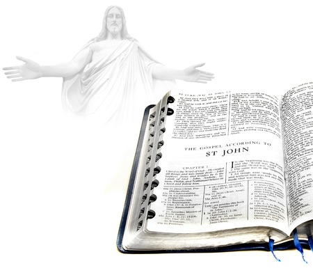 book of revelation: Open pages of bible isolated on white background with Jesus in Background