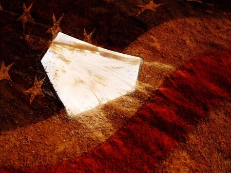 homeplate: Home plate on baseball field with American Flag over