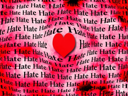 Words of hate surrounded by large red heart symbolizing that love is more powerful than hate photo