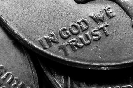 Coins of Silver American Money with words In God We Trust