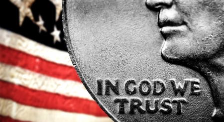 business change: Coin of Silver American Money with words In God We Trust Stock Photo