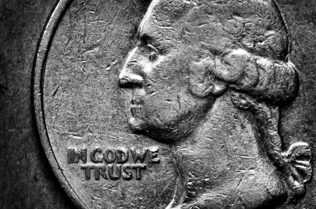 coinage: Coin of Silver American Money with words In God We Trust Stock Photo
