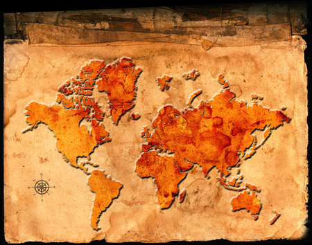 Antique map of the world on parchment paper with relief or raised symbols
