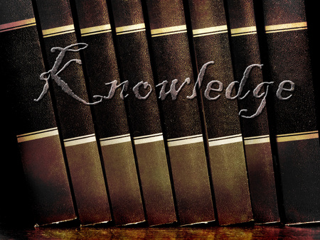 Row of old leather books on a shelf with word knowledge cover