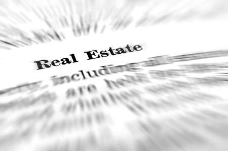 Definition of real estate on white background