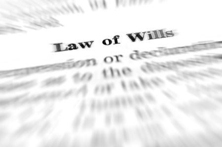 will power: Law of wills definition dealing with estate planning Stock Photo