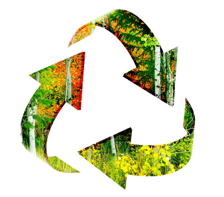 mountainside: Recycle Symbol with View of forest of autumn trees on mountainside