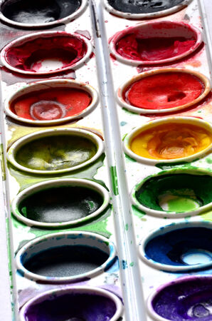 smeared: Paint sets with colors smeared around colorful and artistic