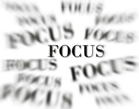The word focus with zoomed words in background isolated on white as concept for business ideas Stock Photo
