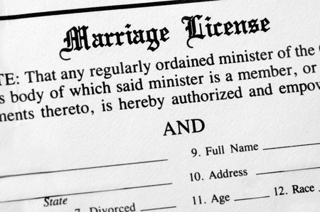filled out: Closeup of Marriage License document form to be filled out and filed Stock Photo