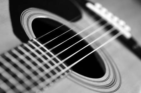 craftsmanship: Closeup detail of guitar strings for playing music