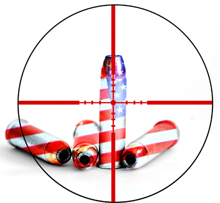 amendment: Closeup of tactical military bullets with crosshairs for opposition to gun freedom and second amendment rights