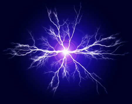 Explosion of pure power and electricity in the dark photo