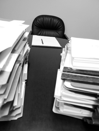 legal pad: Files papers legal pad on desk with black pen waiting to be signed