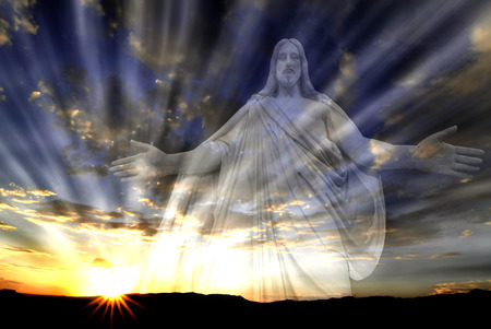 Jesus in the sky with rays of sunlight for love and hope photo