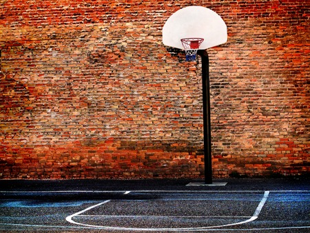 Detail of urban basketball court hoop bball streetball city