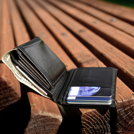 lost money: Lost wallet left on bench with cash and credit cards
