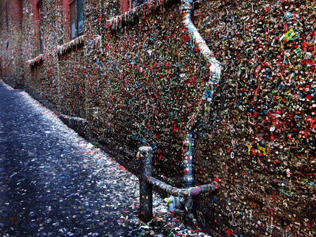 Seattle Washington famous gum wall sticky gooey by Pike's Place Market
