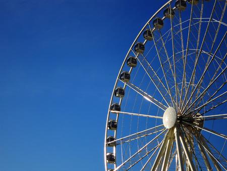 Detail of Seattle water front ferris wheel on dock photo