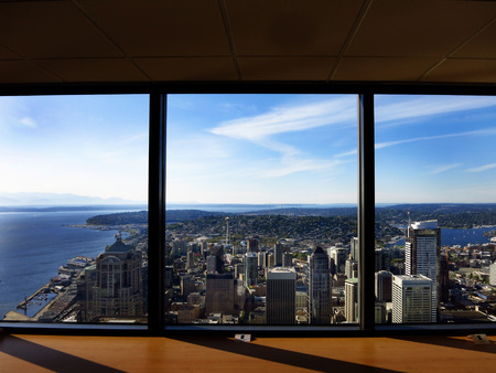 View of Seattle buildings and city from Observatory photo