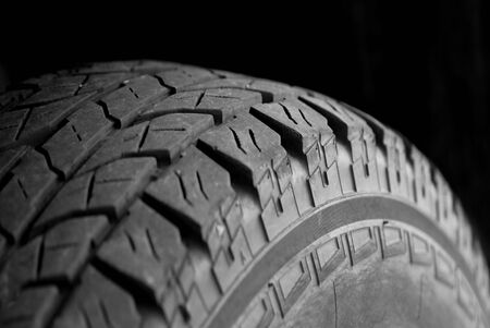 tire tread: Detail shot of a large tire