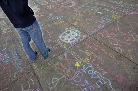 bombings: Memorial on Boyston Street in Boston after bombings with written statements
