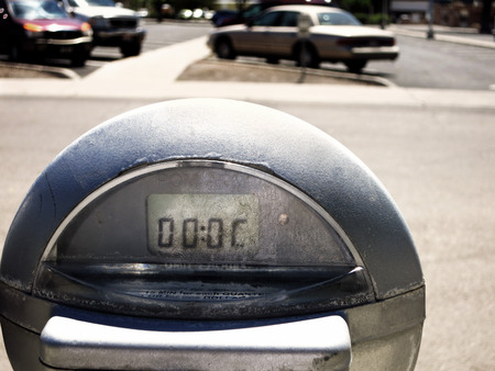 running out of time: Close up of parking meter showing that the time has run out Stock Photo
