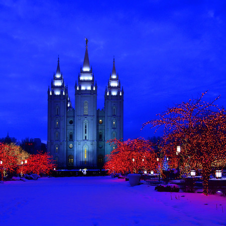 salt lake city: Salt Lake City Temple Square Christmas Lights on Trees and Steeples