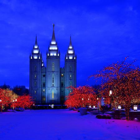 Salt Lake City Temple Square Christmas Lights on Trees and Steeples