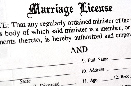 Closeup of Marriage License document form to be filled out and filed Foto de archivo