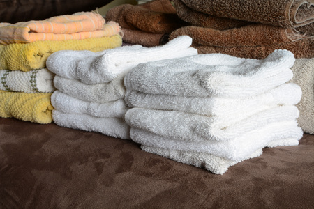 terrycloth: Detail of towels in stacks after laundry