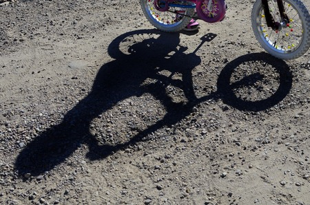 mountainbiking: Detail of mountain biking shadow of rider and bike