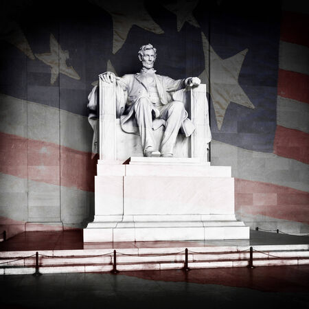 lincoln: Abraham Lincoln at the Lincoln Memorial in Washington DC with American Flag Stock Photo