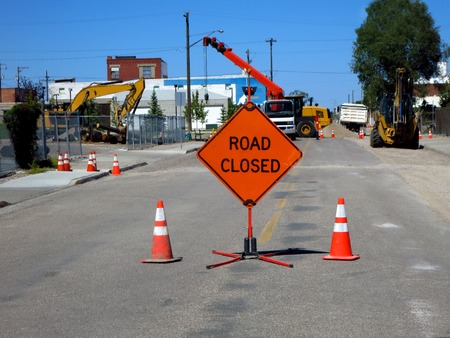 road closed: Road closed construction fixing street