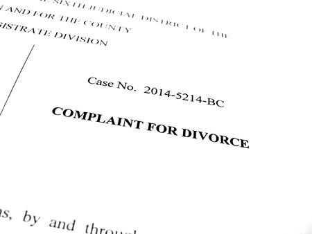 spousal: Legal papers Complaint for Divorce in court