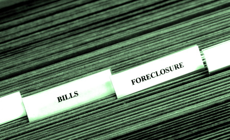 indexed: Detail of file folders for bills and foreclosure personal finances