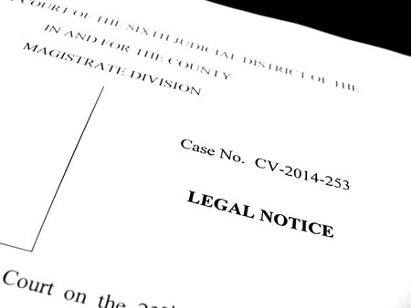 lawsuit: Detail of legal papers a notice of lawsuit Stock Photo