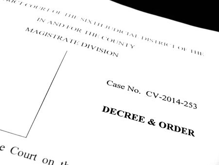 spousal: Detail of legal papers Decree and Order