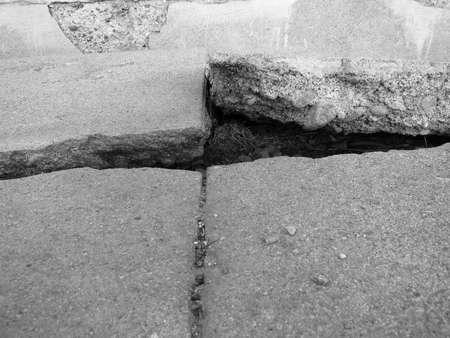 Detail of old broken cement cracked and ruined