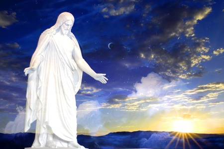 book of revelation: Jesus at creation with sunset Stock Photo