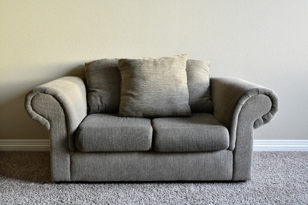 comfortable: Brown comfortable couch inside home house inviting