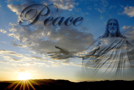 antique jesus: Jesus at creation with sunset and word Peace Stock Photo