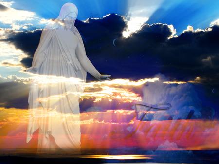 vangelo aperto: Ges� al momento della creazione con il tramonto e fasci di luce
