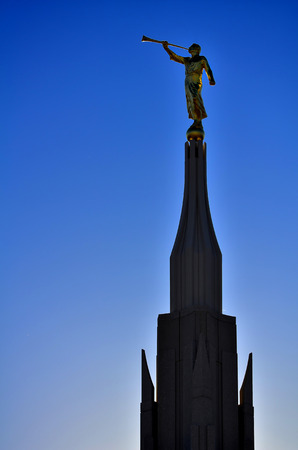 mormon: Detail of Phoenix Mormon Temple with Statue of Angel Moroni LDS