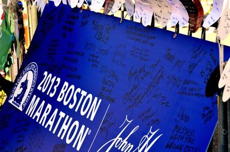 bombings: Memorial on Boylston Street in Boston after bombings with written statements