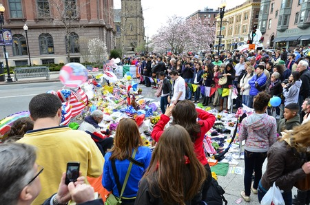 bombings: Memorial on Boylston Street in Boston after bombings with people